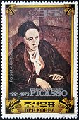 A stamp commemorating the 100 anniversary of the birth of Picasso shows portrait of Gertrude Stein