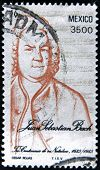 Mexico - Circa 1985: A Stamp Printed In Mexico Shows Portrait Of The Composer Johann Sebastian Bach
