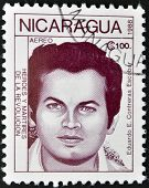 A postage stamp printed in Nicaragua shows the hero of the revolution Eduardo Contreras Escobar