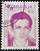 A postage stamp printed in Nicaragua shows the hero of the revolution Ricardo Morales Aviles