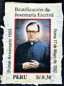 A stamp shows image of Saint Josemaria Escriva de Balaguer was a Roman Catholic priest, Opus Dei