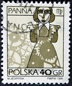 Poland - Circa 1996: A Stamp Printed In The Poland, Shows A Sign Of The Zodiac, Virgo, Circa 1996