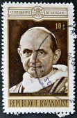 Rwanda - Circa 1961: A Stamp Printed In Rwanda Shows Pope Paul Vi, Circa 1961