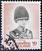 Thailand - Circa 1970: A Stamp Printed In Thailand Shows Image Of King Bhumibol Adulyadej