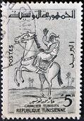 Tunisia - Circa 1960: A Stamp Printed By Tunisia, Shows Horseback Rider, Circa 1960