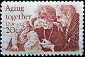 United States - Circa 1982: A Stamp Printed In United States, Shows Eldery Peoples With Childs