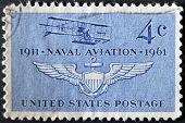 United States - Circa 1961: Stamp Printed In Usa Shows Navy's First Plane  And Naval Air Wings