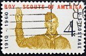 United States - Circa 1960: A Stamp Printed In Usa, Shows Boy Scout Giving Scout Sign, Circa 1960