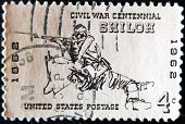 a stamp shows soldier from American civil war in the Battle of Shiloh