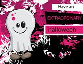 Halloween greeting card - Pink Ghost