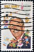United States Of America - Circa 1990: A Stamp Printed In The Usa Shows Image Of Walt Disney