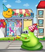 Illustration of a pedestrian lane with a green monster near the party shop