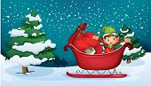 Illustration of an elf riding on a sleigh with a sack of gifts