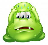 Illustration of a failed fat green monster on a white background