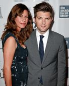 NEW YORK-OCT 5: Actor Adam Scott & wife Naomi attend the 'The Secret Life Of Walter Mitty' during th