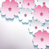 Stylish Background With 3D Flower Sakura