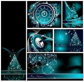 Merry Christmas backgrounds collection silver and blue