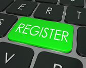 The word Register on a green computer keyboard key to illustrate e-commerce or signing up entering to join a new website, store, or attend an event