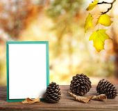Autumn Greeting Card With Pinecones