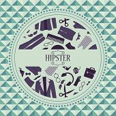Hipster card with various clothing and accessories