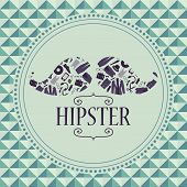 Hipster card mustache with various clothing and accessories