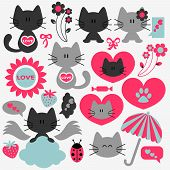 Two cute cats in love set of elements