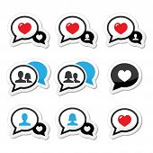 Love, speech bubbles with heart vector icons set