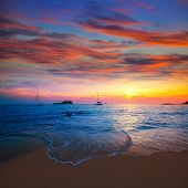 Ibiza sunset from Cala Conta Comte in San Jose at Balearic Islands Spain