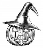 stock photo of lithographic  - An illustration of a Halloween pumpkin wearing a witch hat in a retro vintage woodblock or woodcut etching style - JPG