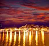 Eivissa Ibiza town downtown at sunset dalt villa in Balearic Islands of spain