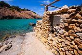 Ibiza Cala Moli beach with clear water in Balearic Islands San Jose