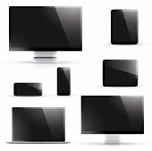 Laptop, tablet, smartphone, computer display vectors with black screen isolated on white