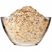 stock photo of oats  - oat flake in glass bowl close up isolated on white background - JPG