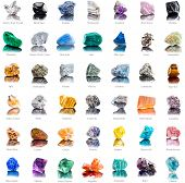 Collection set of semi-precious gemstones stones and minerals with names isolated on white  backgrou