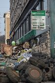 KIEV, UKRAINE -MAR 24, 2014 Downtown of Kiev Branch of Sberbank of Russia after crush and robbery. R