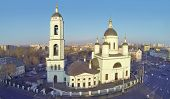 Temple of St. Sergius Radonezhsky (Trinity) in Rogozhskaya Sloboda, Moscow, Russia. View from unmann