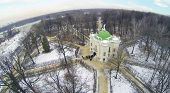 Aviary in museum-estate Kuskovo, Moscow, Russia. Aerial view