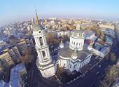 Martin Confessor Church at winter in Moscow, Russia. Aerial view