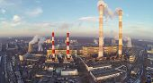 image of chp  - Territory of power plant at winter - JPG