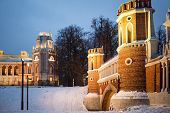 RUSSIA, MOSCOW - DEC 22, 2013: Second Cavalier Building at territory of Catherine Palace in Tsaritsy