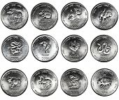 set of 12 coins CHINESE HOROSCOPE. 10 shillings Republic of Somalia CIRCA 2000 year, OX, RAT, RABBIT, DOG, DRAGON, TIGER, ROOSTER, SNAKE, GOAT,HORSE, MONKEY, PIG.
