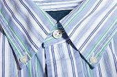 stock photo of button down shirt  - Striped blue mens shirt button down collar - JPG