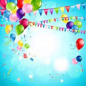 Happy holiday background with bright multicolor balloons