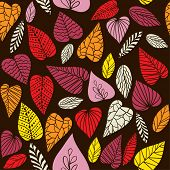 Abstract seamless vector pattern with decorative leaves.