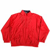 picture of nylons  - red nylon waterproof windstopper jacket on white background - JPG
