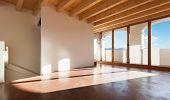 classic empty loft, interior, room with porch