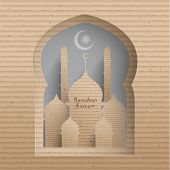 picture of hari raya  - Vector 3D Cardboard Mosque - JPG