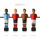 Table football, foosball players. Group A - Spain, Germany, Ukraine, England. Vector.