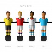 Table football, foosball players. Group F - Germany, England, France, Italy. Vector.