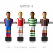 Table football, foosball players. Group H - Spain, the Netherlands, Scotland, Italy. Vector.